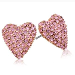 NWT Betsey Johnson pink pave heart earrings